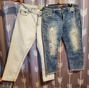 2 pair capris size 13, white washed & distressed